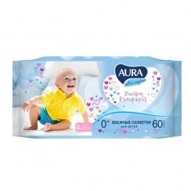 Влажные салфетки детские Aura Ultra Comfort 60 штук в упаковке