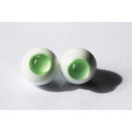 Глаза для кукол стеклянные (сфера), зеленые, без зрачка.