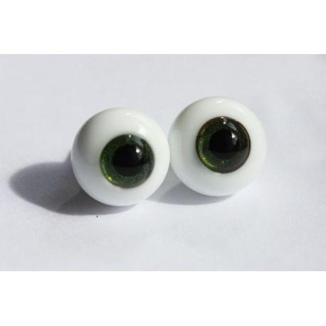 Глаза для кукол стеклянные (сфера), золотисто-зеленые.