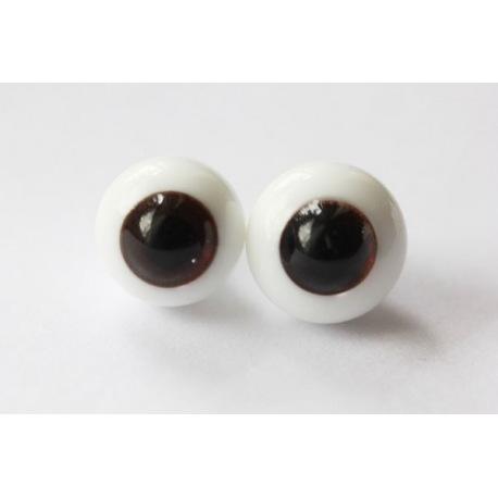 Глаза для кукол стеклянные (сфера), красно-коричневые.