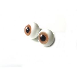Глаза для кукол стеклянные (сфера), светло-карие.