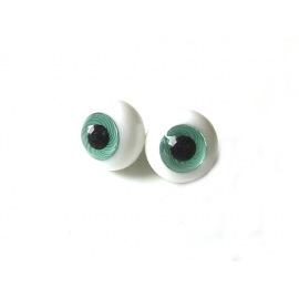 Глаза для кукол стеклянные (сфера), бирюзовые.