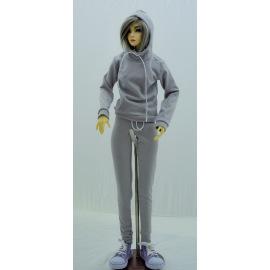 Спортивный костюм серый для куклы BJD